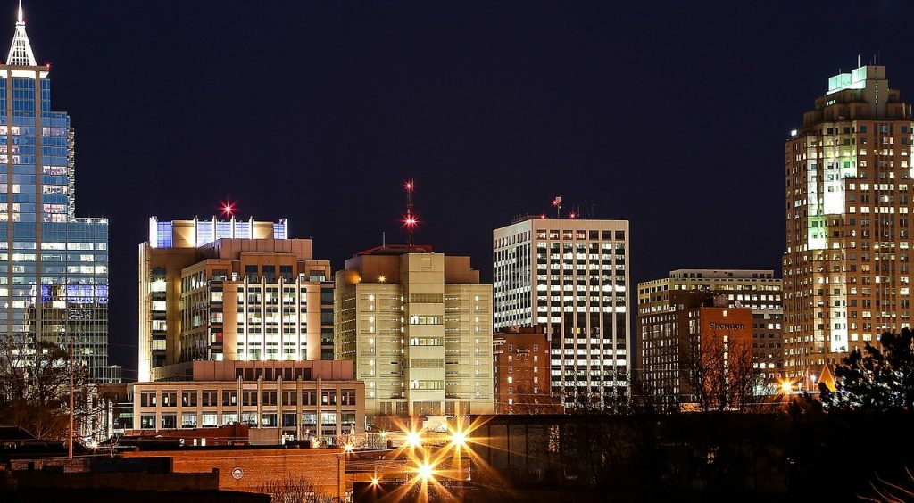 photo of Raleigh NC downtown at night