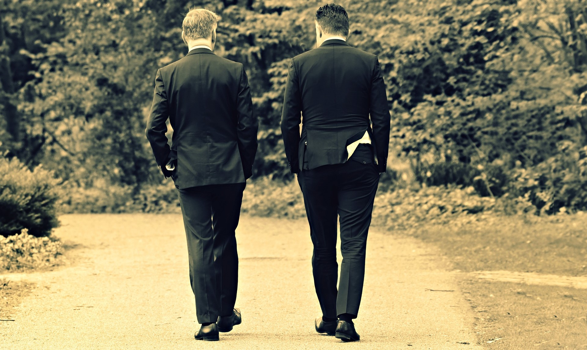 Two men are walking